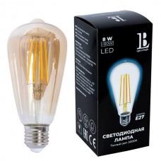 Лампочка светодиодная филаментная E27-8W-SТ64-WW-fil gold_lb